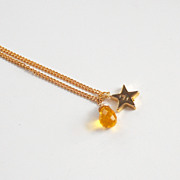 Yellow Quartz - Star Pendant necklace- Handstamped Initial Necklace- Custom Necklace- Bridesma
