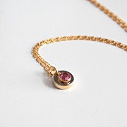 Pink Swarovski Channel Drop Pendant necklace- Wedding Accessories-- Bridesmaids Necklace-Brida