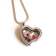 Floating Charm Locket- Memory Glass Locket- Mother's Day Locket- Mother's Day Necklace- Floati