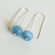 Ice Blue Aquamarine Dangle Drop Earrings - Fine silver Earrings- Every day wear Earrings