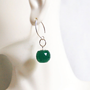 Gorgeous 28.90 ct Green Jade ball Briolette Dangle Drop Earrings- Fine Jewelry- Wedding Jewelr