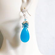 Blue Cluster Earrings -Neon Blue Chalcedony And Blue Quartz Cluster Earrings-Dangle Drop Earri