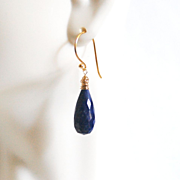 Genuine Lapis Lazuli Teardrop Briolette Dangle Drop Earrings- Deep Blue Earrings
