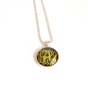 Nail polish jewelry-mother's day Necklace -Yellow And Black jewelry- pendant necklace-Crackle