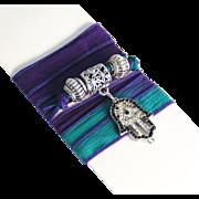 Hand Dyed Silk Ribbon Wrap Bracelet/ Necklace/Anklet- Wrap Bracelet -Purple , Teal Blue ...