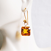Top Grade 30.10 ct.Orange Citrine Dangle Drop Earrings- Fine Jewelry-Wedding Jewelry- Bridal J