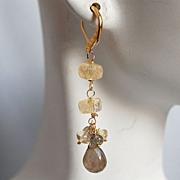 AAA Labdradorite and citrine dangle earrings