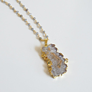 Druzy Necklace -Amethyst Stalactite 24K Gold Plated Druzy Pendant With Labradorite Rosary Chai
