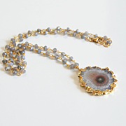 Amethyst Stalactite 24K Gold Plated Druzy Pendant With Labradorite Rosary Chain- Druzy Necklac