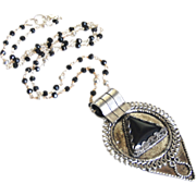 Statement Necklace- Locket Necklace-Tibetan-Style Teardrop Pendant on Spinel and Pyrite Rosary