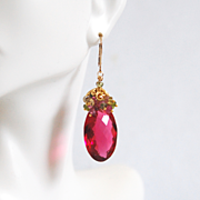 AAA Rubelite Hot Pink Quartz Cluster Earrings Rubelite And Multi tourmaline Earrings-Dangle Dr