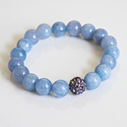 Natural Aquamarine Bracelet- Beaded Bracelet- Stretch Bracelet- Women's Bracelet- Mother's Day