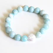 Natural Amazonite Bracelet- Beaded Bracelet- cultured Fresh water Pearl Bracelet- Women's Brac