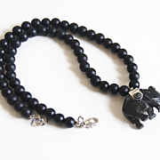 Black Onyx And Tibetan Black Carved Bone Elephant Pendant Necklace- Men's Necklace- Beaded Bla
