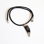 Black leather necklace with Black Tibetan Horn pendant -Men's Necklace- men's Jewelry- Leather