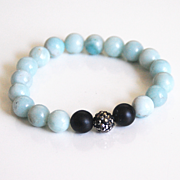 Natural Amazonite Bracelet- Beaded Bracelet-Black Onyx Bracelet- Women's Bracelet- Mother's Da