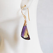 21.3 ct. Bi-Colour Ametrine Dangle Drop Earrings -Ametrine Earrings- Wedding Jewelry- Bridal a