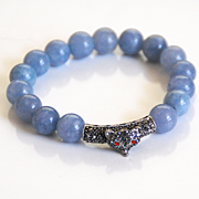 Natural Aquamarine Bracelet With Rhinestone Slider- Beaded Bracelet- Stretch Bracelet- Women's