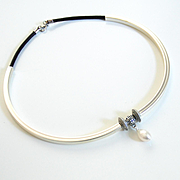 Leather Choker Necklace With Long Tube And Pearl- Tube necklace- leather jewelry- Choker-State