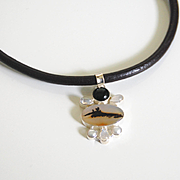 Genuine Leather choker necklace With Scenic Dendritic Opal- Agate- Culturesd Fresh Water Pearl