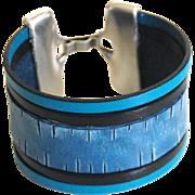 Denim Engraved Leather Cuff Bracelet- Unisex Bracelet- Cuff Bracelet- Multi Strand Bracelet- .