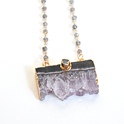Amethyst Druzy Pendant With Labradorite Rosary Chain- Druzy Necklace- Pendant Necklace -Amethy