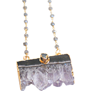 Amethyst Druzy Pendant With Labradorite Rosary Chain- Druzy Necklace- Pendant Necklace  ...