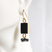 Natural Druzy Geode Gold Plated Black Agate Slice And Pyrite Cluster Earring- Dangle Drop Earr