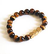 Men's Tiger Eye and Brass Bead Bracelets- Men's Bracelets - Men's Jewelry -Beaded bracelet- Un