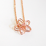 Rose gold plated Flower pendant necklace- rose gold necklace- Rose gold jewelry- Everyday wear