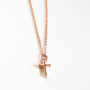 Rose Gold Tiny Cross Necklace- Charm Necklace- Everyday Necklace -Rose Gold Cross Jewelry - Ro