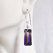 Bi-Color Ametrine Top Grade 22.47ct Dangle Drop Earrings- Fine Jewelry-Wedding Jewelry- Bridal
