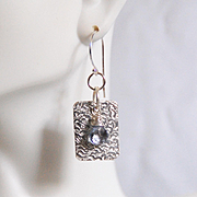 Textured Sterling silver Dangle Drop Earrings With Blue mystic Quartz- For Her- Gift Ideas-Han