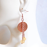 Rose Gold Earrings- Citrine And Rose gold Disc Dangle Drop Earrings- Rose Gold Jewelry- For he
