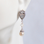 Rhodium Plated Cubic Zirconia Drop with pearl And Moonstone Earrings- Wedding Jewelry - Bridal