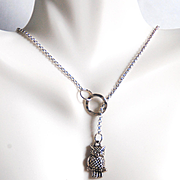 Lariat necklace- lariat Jewelry- Owl Necklace- Owl Jewelry- Silver Necklace- Silver Lariat Nec