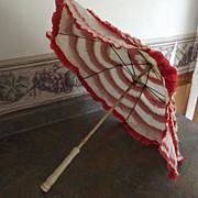 SOLD Child's Cloth and Crepe Paper Umbrella1940's