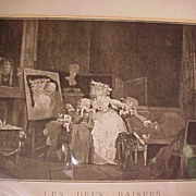 SALE Lovely Old French Print
