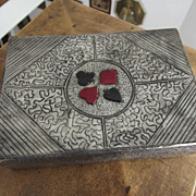 Hammered Metal Card Case With Cards