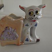 Art Deco Googly Eyed Cat Toothpick Holder