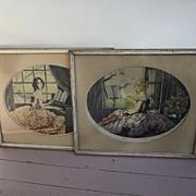 Pair of Art Deco Pictures of Ladies Violin, Piano