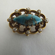 Small Victorian Tourquise With Pyrite Brooch
