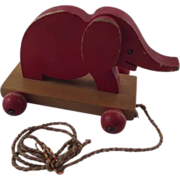 Vintage Wood Elephant Pull Toy