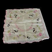 Silk Handkerchief With Flowers and Birds