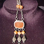 SALE Early Necklace With Orange Beads
