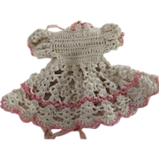 Pink and White Crocheted Dress