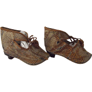 Doll Shoes With Heels Faux Reptile