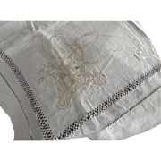 Linen Runner With Embroidered Flower Baskets and Openwork