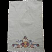 SOLD Linen Cross Stitch Hand Towel