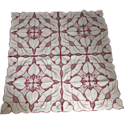 Red and White Openwork Table Cover